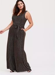 Black & Glitter Gold Stripe Jumpsuit