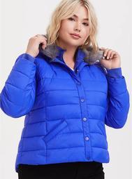 Electric Blue & Grey Faux Fur Girlfriend Crop Puffer Jacket