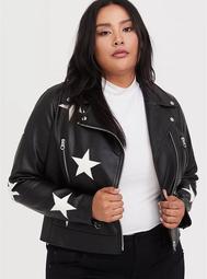 Black Faux Leather & White Star Moto Jacket