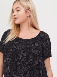 Abbey - Black Witch Print Georgette Button-Back Blouse