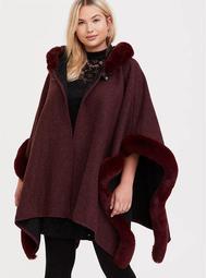 Burgundy Purple Faux Fur Trim Hooded Ruana