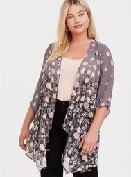 Grey Floral Chiffon Drape Front Kimono