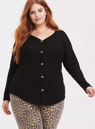Black Waffle Knit Button Front Long Sleeve Tee