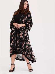 Black Chiffon Flocked Floral Longline Kimono
