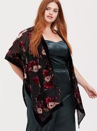Black Velvet Floral Burnout Kimono