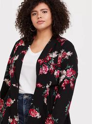 Black Floral Twill Fit & Flare Trench Coat
