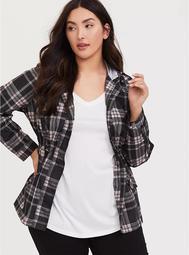 Black & Pink Plaid Nylon Hooded Rain Jacket