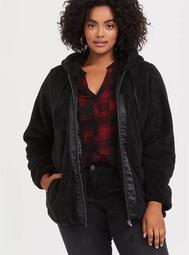 Black Faux Fur Hooded Teddy Jacket