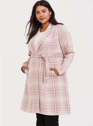 Blush Pink Plaid Self-Tie Longline Blazer