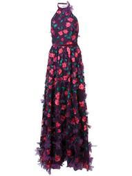 3D floral halter neck gown