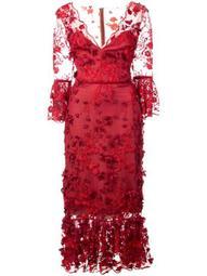 3/4 sleeve embroidered midi dress