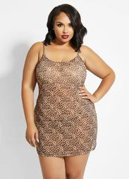 Animal Print Mesh Chemise Set