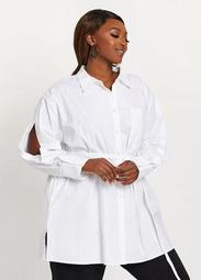 DUBGEE by Whoopi Belted Button Sleeve Tunic