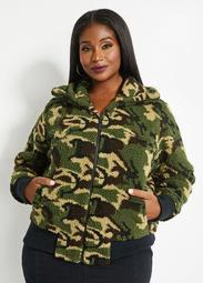 Camo Teddy Sherpa Coat