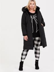Black Faux Fur Trimmed Hooded Longline Puffer Coat