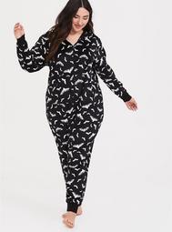 Black & White Bat Print Fleece Sleep Onesie