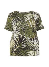 **DP Curve Green Tropical Print Utility Top
