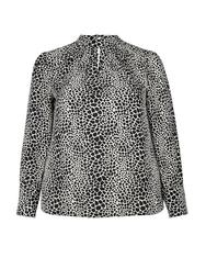 **DP Curve Monochrome Giraffe Print Pleat Neck Top