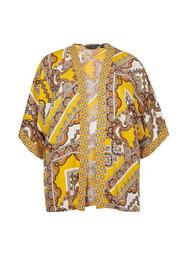 **DP Curve Yellow Paisley Print Kimono