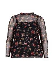 **DP Curve Black Floral Print Mesh Top