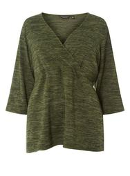 **DP Curve Khaki Brushed Wrap Top
