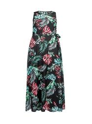 **Billie & Blossom Curve Palm Print Maxi Dress