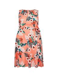 **Billie & Blossom Curve Coral Tropical Print Dress