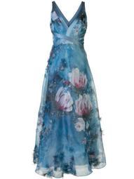v-neck floral print effect dress