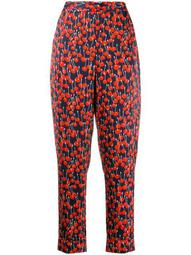 cherry print tapered trousers