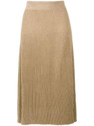 ribbed knit A-line skirt