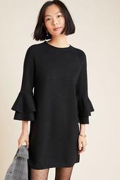 Claudette Ruffled Sweater Dress