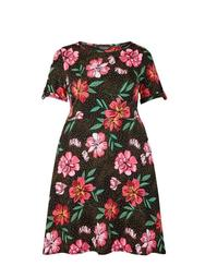 **DP Curve Black Floral Print T-Shirt Dress