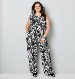 Black and White Tropical Print Jumpsuit