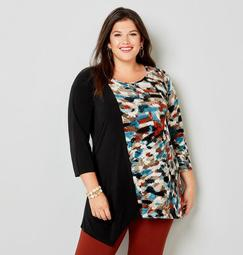 Abstract and Colorblock Asymmetrical Hem Tunic