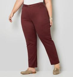 5 Pocket Straight Leg Knit Denim in Currant