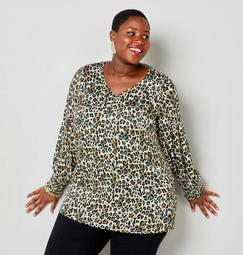 Animal Print V-Neck Tunic