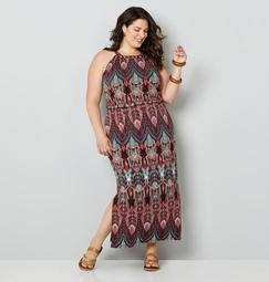 Art Deco Inspired Print Maxi Dress