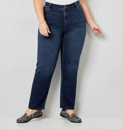 5 Pocket Straight Leg Knit Denim in Dark Wash