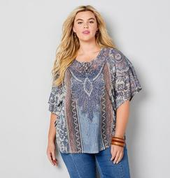 Blue Bejeweled Paisley Hacci Poncho