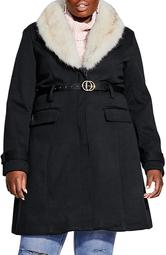 Belted Jacket with Faux Fur Collar