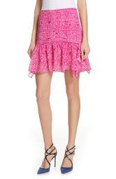 Abby Pintuck Silk Chiffon Mini Skirt