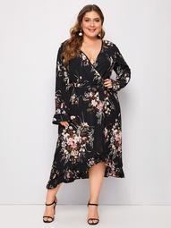 Plus Floral Asymmetrical Ruffle Hem Belted Dress