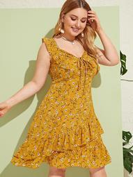 Plus Ditsy Floral Drawstring Layer Ruffle Hem Dress