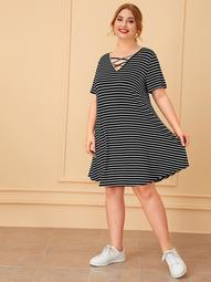 Plus Crisscross V-neck Striped Tee Dress