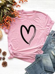 Plus Heart Print Tee