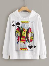 Plus Poker Print Drawstring Hooded Sweatshirt