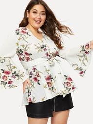 Plus Floral Print Knot Waist Flounce Sleeve Blouse