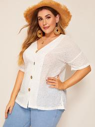 Plus Button Eyelet Embroidered Blouse