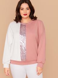 Plus Sequin Insert Colorblock Sweatshirt