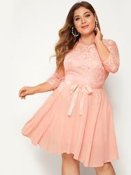 Plus Self Tie Contrast Lace Fit & Flare Dress